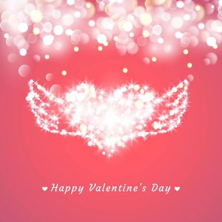 Valentines Day Card. heart with wings, Lights And Blurs Illusztráció