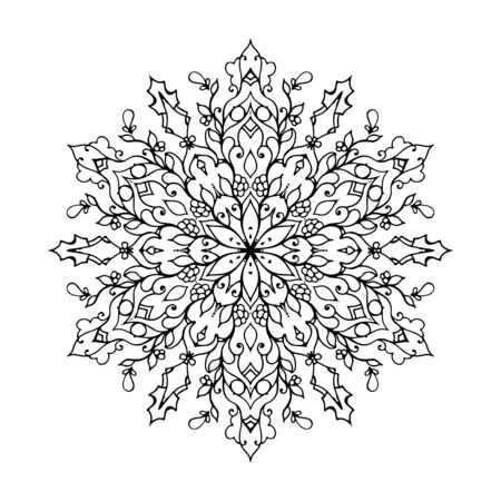 Outline Mandala for coloring book. Decorative round ornament. Anti-stress therapy pattern. Cricut mandala design, background for meditation poster. Unusual flower shape oriental line vector