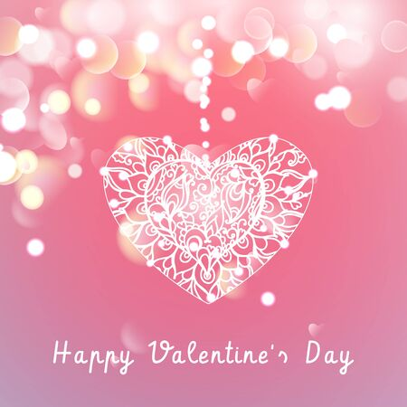 Vector Heart on a pink background with bokeh and light. Happy Valentines Day Card Design. 14 February. Blurred Soft