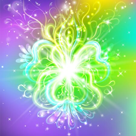 radiant spiritual flower with rays of light, Magic flower, enlightenment or meditation and universe, magic scene, abstract illustration