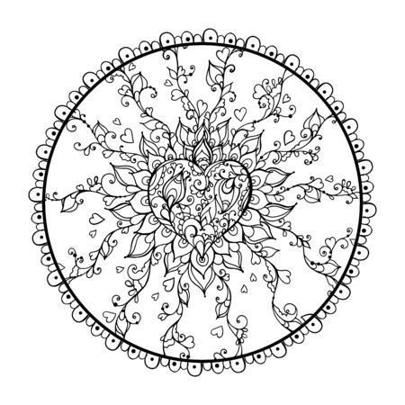 Mandala Art for Meditation, Color Therapy, Adult Coloring Pages, Stress Relief and relaxation (Valentine Version) with Heart shape for Valentines Day Gift. Illusztráció