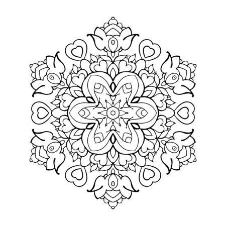 Outline Mandala for coloring book. Decorative round ornament. Anti-stress therapy pattern. Weave design element. Yoga style, background for meditation poster. Unusual flower shape. Oriental vector Illusztráció
