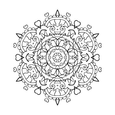Mandala Art for Meditation, Color Therapy, Adult Coloring Pages, Stress Relief and relaxation (Valentine Version) with Heart shape for Valentine's Day Gift