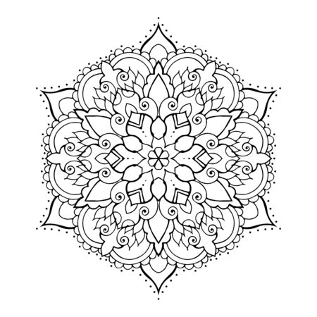 Circular pattern in form of mandala for Henna, Mehndi, tattoo, decoration. Decorative ornament in ethnic oriental style. Coloring book page. Illusztráció