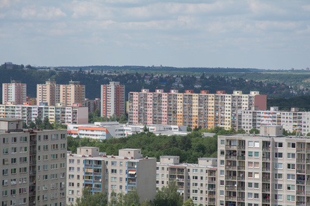Old prefabricated housing estates with many flats in the outskirts of a town