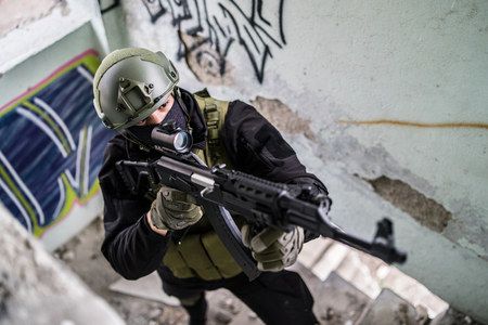 Special forces police soldier after the war battle intervention on the terrorists