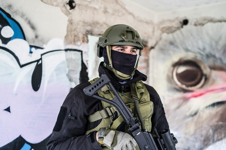 Special military soldier police at the battle zone terrorist Stock Photo
