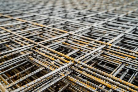 Close up on Steel reinforcement mash building construction steel galvanized net Banque d'images