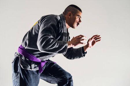 Brazilian Jiu JItsu BJJ Fighter in A Fighting Stance 版權商用圖片