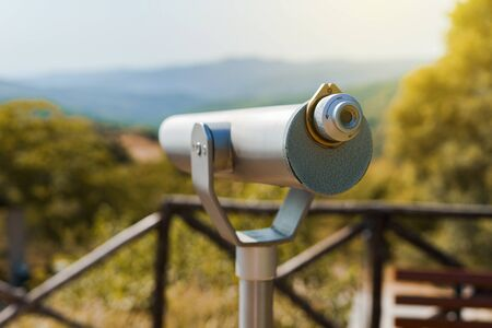 Monocular telescope binoculars at the Aristotle's park at Stagira Greece