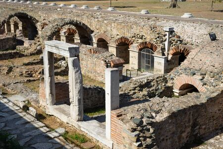Ancient ruins of roman forum Ancient Agora in Thessaloniki in sunny day tourist destination archeological site