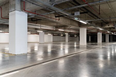 Empty parking at the shopping mall garage city life crisis tranquil scene recession concept