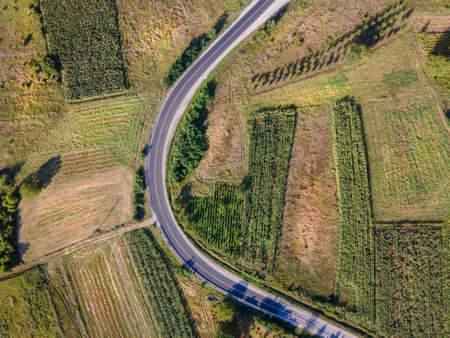 Aerial view top down from above on the country road in mountain range agriculture fields between green grass and trees around - nature travel concept drone photo in Europe Serbia in sunny summer day