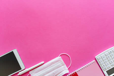 Back to school new normal concept - Top view on school supplies items on pink background with copy space Stock Photo