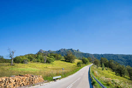 Summer day on Old mountain road to Babin Zub national park in Serbia Stock Photo