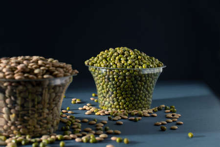 Mung bean side view, black background, photography