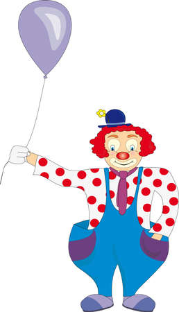 Illustration of funny clown with balloon Stock Vector - 16997645
