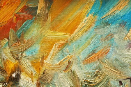 painting brush: Colorful brushstrokes in oil on canvas