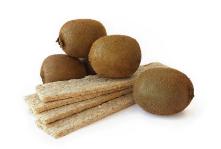 dietetic: Kiwi and dietetic bread on a white background  Stock Photo