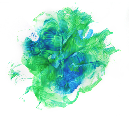 monotype: Beautiful green and blue blobs on white background. Graphics, monotype.