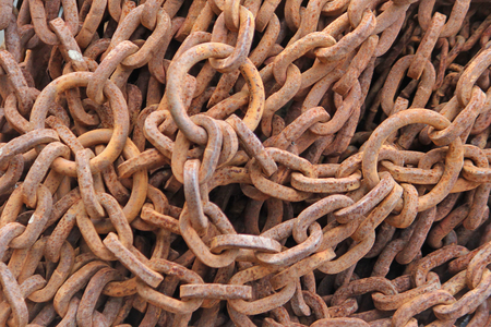 rusty chain: Old rusty metal chain. Industrial background. Stock Photo