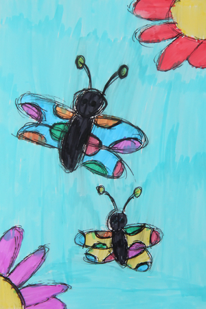 Butterflies and flowers. Funny childs drawing with bright markers.
