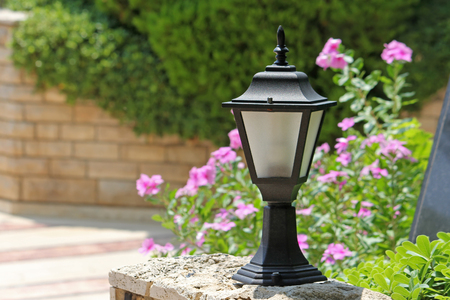 Small decorative street lamp in the yard Stock Photo