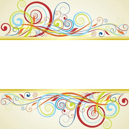 orange swirl: Background floral frame design