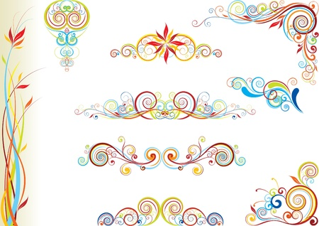 Set of color floral design