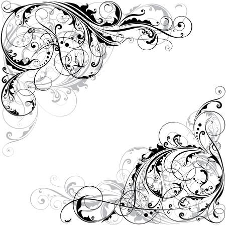 corner design: Abstract floral corner design  Illustration