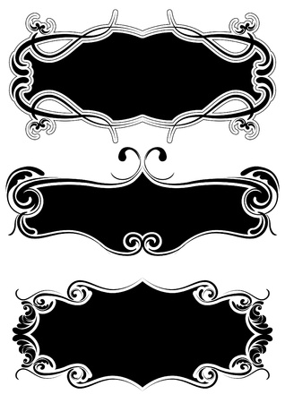 Set of retro black frame  Illustration