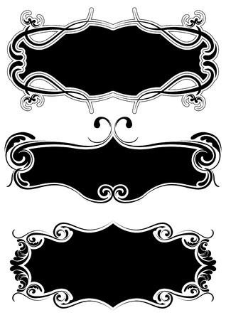 rococo: Set of retro black frame  Illustration