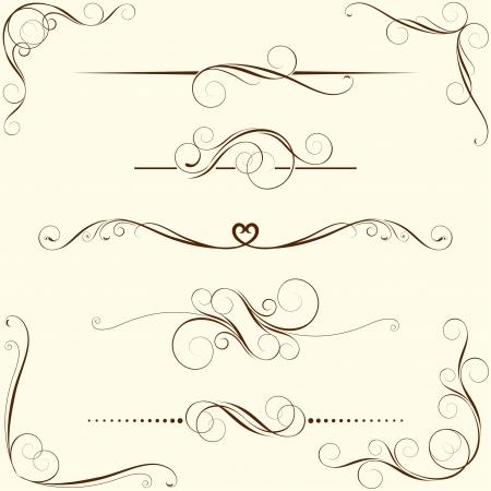 calligraphy frame: Juego de adornos florales de turbulencia Vectores
