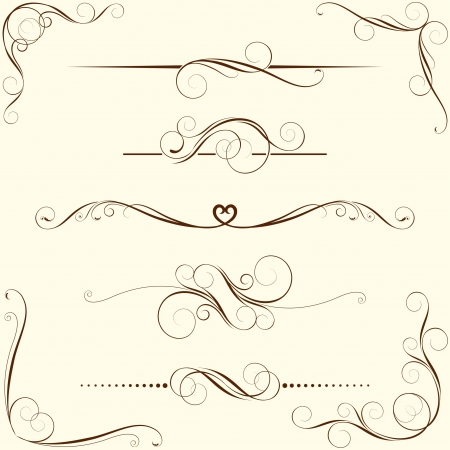 scroll shape: Set of swirl floral ornaments