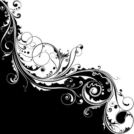 marco blanco y negro: Flores en blanco y negro de dise�o Vectores