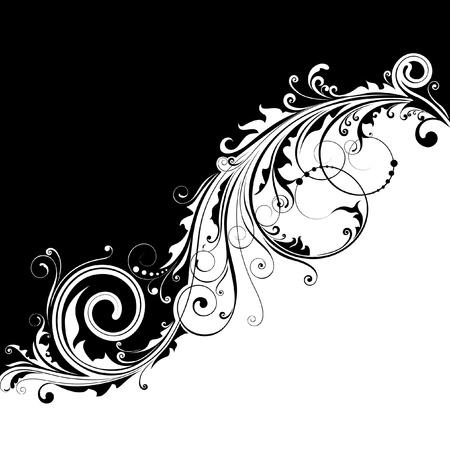 Black diagonal floral design