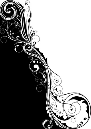 Black floral design  Vector
