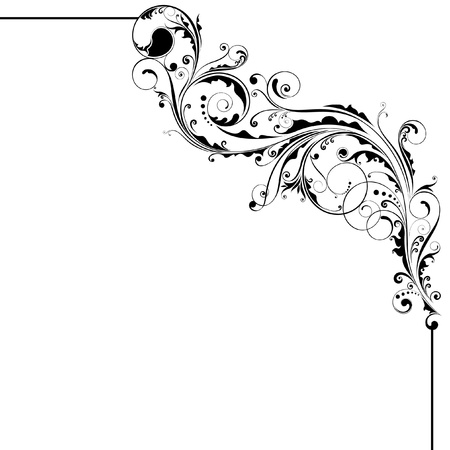 Bloemen zwarte hoek ontwerp Stock Illustratie