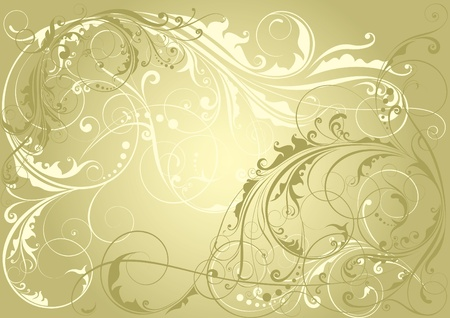retro backgrounds: Golden floral background