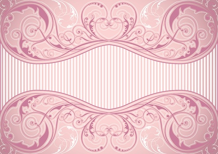 Pink floral background frame  Vector