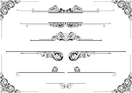 single line: Divider and corner floral design
