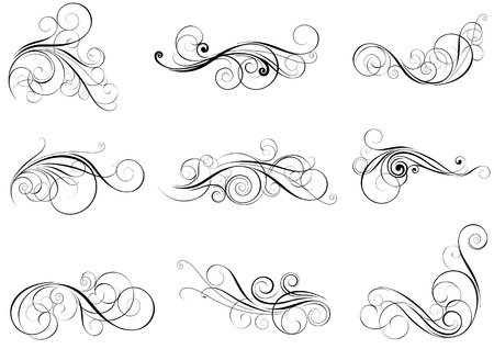 Set swirl design elements  Illustration