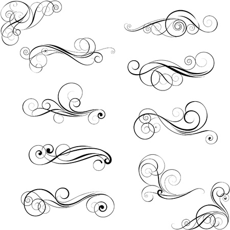 caligrafia: Set of swirl design ornaments