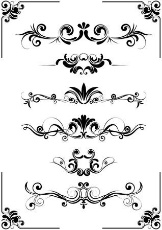 Abstract floral vignette ornaments  Vector