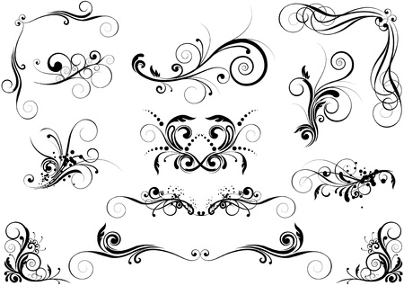 swirl floral: Floral design element  Illustration