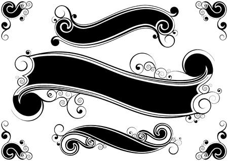 Retro swirl banners  Vector