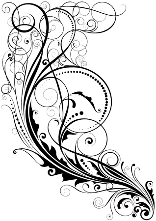 Abstract swirl floral design  Illustration