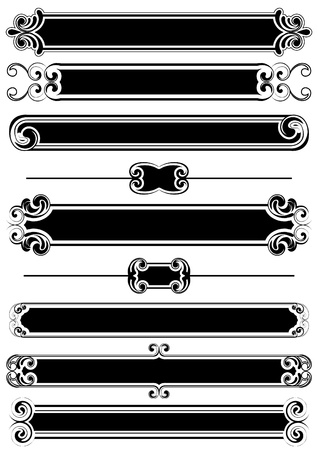 Set of black panels and rule lines  Vector