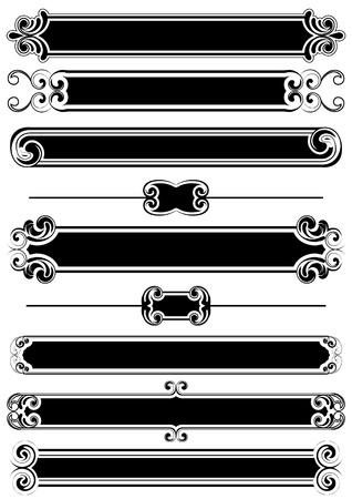 rule line: Set of black panels and rule lines  Illustration