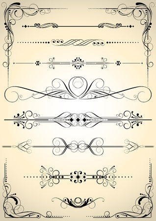 Set of retro decorative elements  Illustration